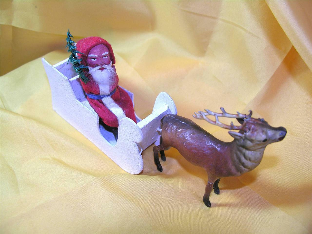 VTG   ANTIQUE 1920S GERMAN COMPOSITION SANTA N SLEIGH W REINDEER CANDY CONTAINER