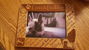 New-in-Packaging-French-Bulldog-Wood-Picture-Frame-Holds-5-034-x-7-034