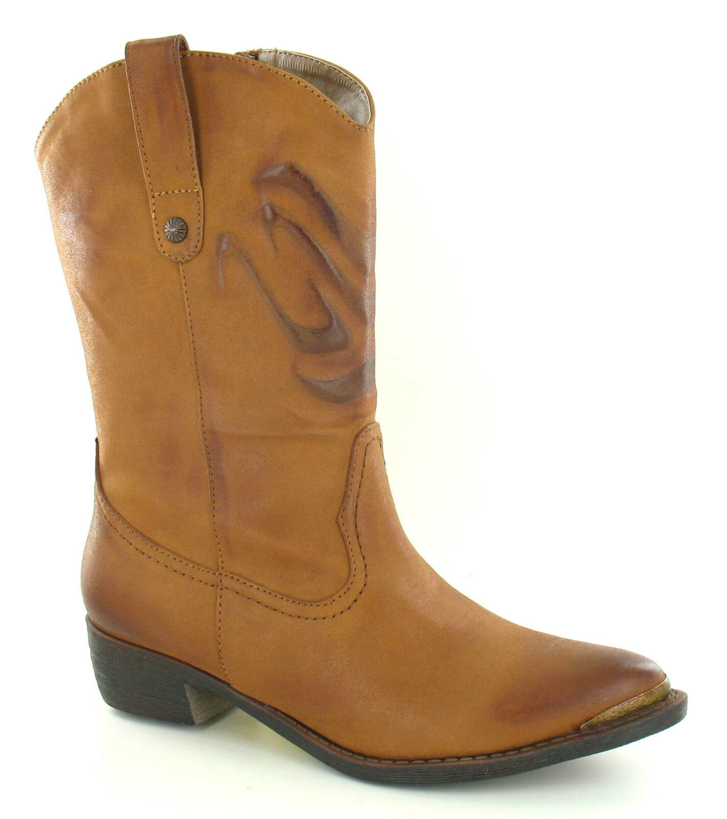 *SALE* Spot On F50170 Ladies Tan Cowboy Style Casual Boots