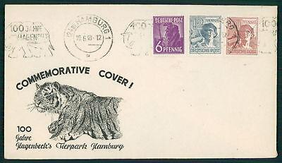 All.bes Deutschland Cover 1948 Hamburg Hagenbeck Tierpark Zoo Tiger Elefant Elephant Ak86 NüTzlich FüR äTherisches Medulla Briefmarken