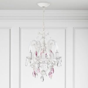 Image Is Loading Pink Crystal Bead Mini Chandelier S Room Lamp