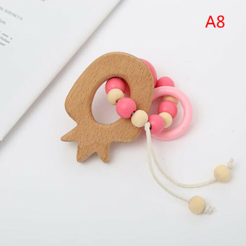 Wooden teether chew beads baby rattle teether bracelet teething ring toy VQ