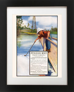 Antique-PINEHURST-Golf-Course-Club-Golfing-Water-Hazard-BOY-Sports-Art-Print