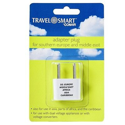 Middle East 1 ea 3 pack Conair Travel Smart Adapter Plug For Southern Europe