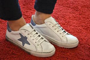BRANDNEU Lazamani Damen Sneaker weiß blau Stern Leder 37 - 41 made in Italy