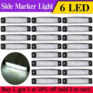 20-Pcs-White-12V-6LED-3-8-034-Front-Side-Marker-Indicator-Lights-Lamp-Truck-Trailer