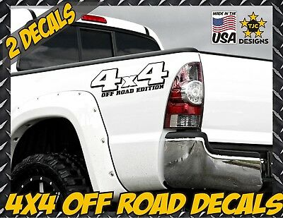 for Toyota Tundra 4x4 Offroad Truck Bed Decals Set of 2 Tacoma MATTE BLACK
