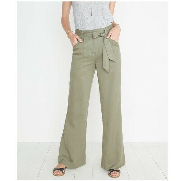 Marine Layer Ivy Wide Leg Pant in Worn Olive, L Large, New Without Tags
