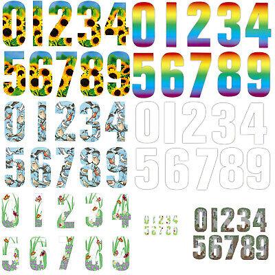 """Hi-vis Wheelie Bin Stickers Numbers House Number 7/"""" Self Adhesive Sticky"""