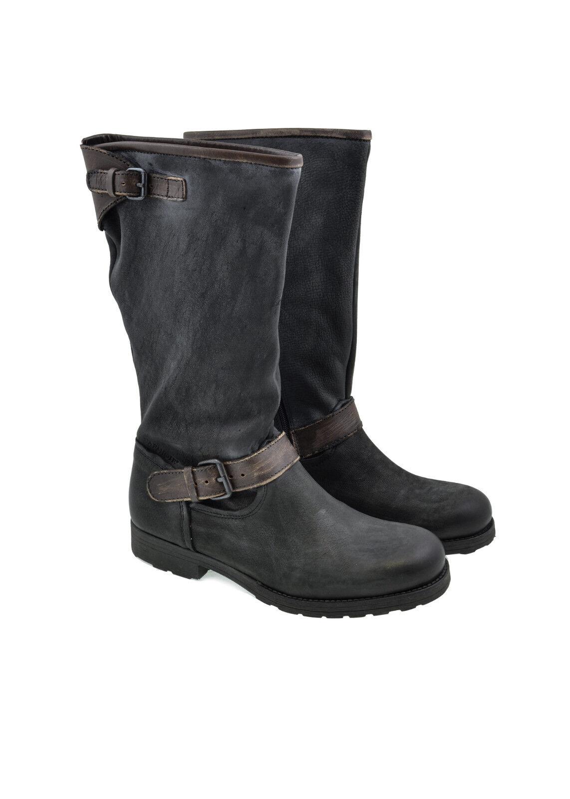 Garanzia del prezzo al 100% Stivali donna CAFè nero nero nero in pelle effetto vintage  economico e alla moda