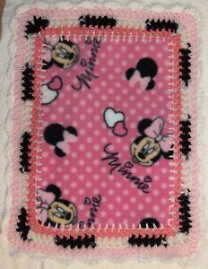 Baby Minnie Mouse Preemie Blanket Security Love Pink Crochet Trim