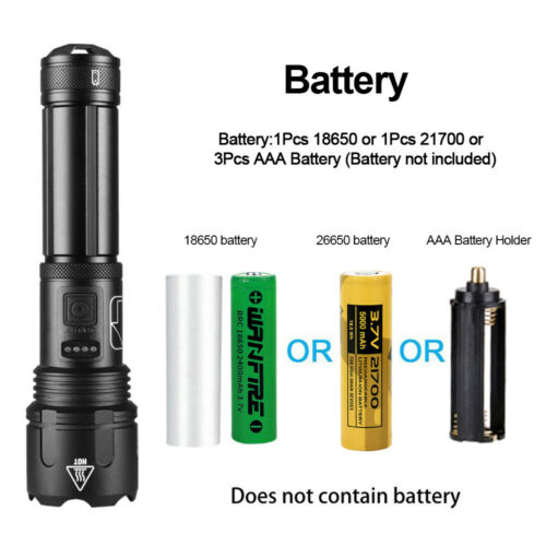 Details about  /Super Bright XHP50 LED Flashlight 5 Modes USB Rechargeable Waterproof Zoom Torch
