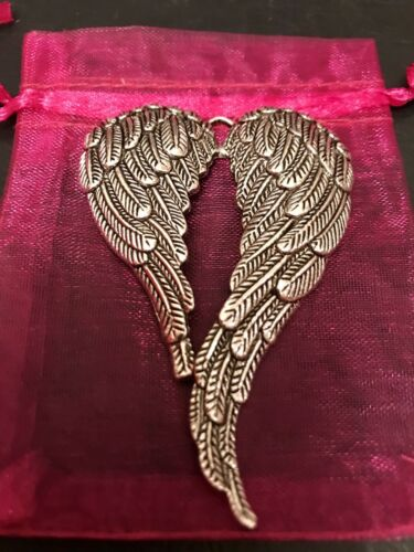 3 X Large FEATHER ANGEL WINGS Pendant Heart ANTIQUE SILVER Charm 70mm MEMORY