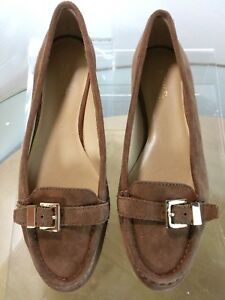 Michael-Kors-Loafer-Women-039-s-Buckle-Brown-Suede-Flats-Driving-Shoes-Size-8-M