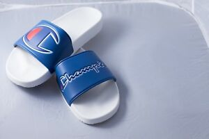 ffcf38729e1b5 NEW IN BOX Champion IPO Slide Shoes Men s White  ROYAL BLUE 100067M ...