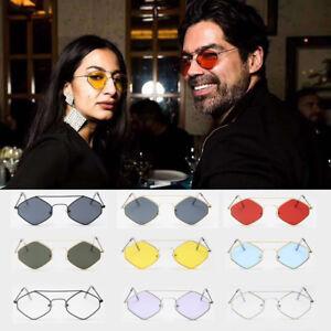 Cool Unisex Women Men Oval Hexagon Shape Glasses Sunglasses Metal Frame Retro SD