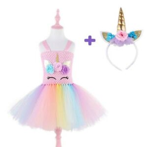 d6a215a512731 Details about Child Kid Girl Unicorn Princess Pastel Rainbow Tutu Dress  Halloween Costume Set