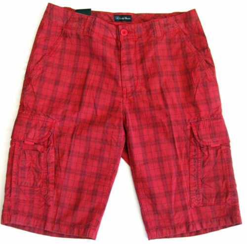 Luigi Morini Hose Cargoshorts Bermuda Männer Shorts red checks 50 52 54 56