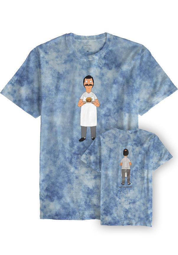 HABITAT T-Shirt Bob´s Offering, Bob´s Burger, tie-dye, blau, Gr. L