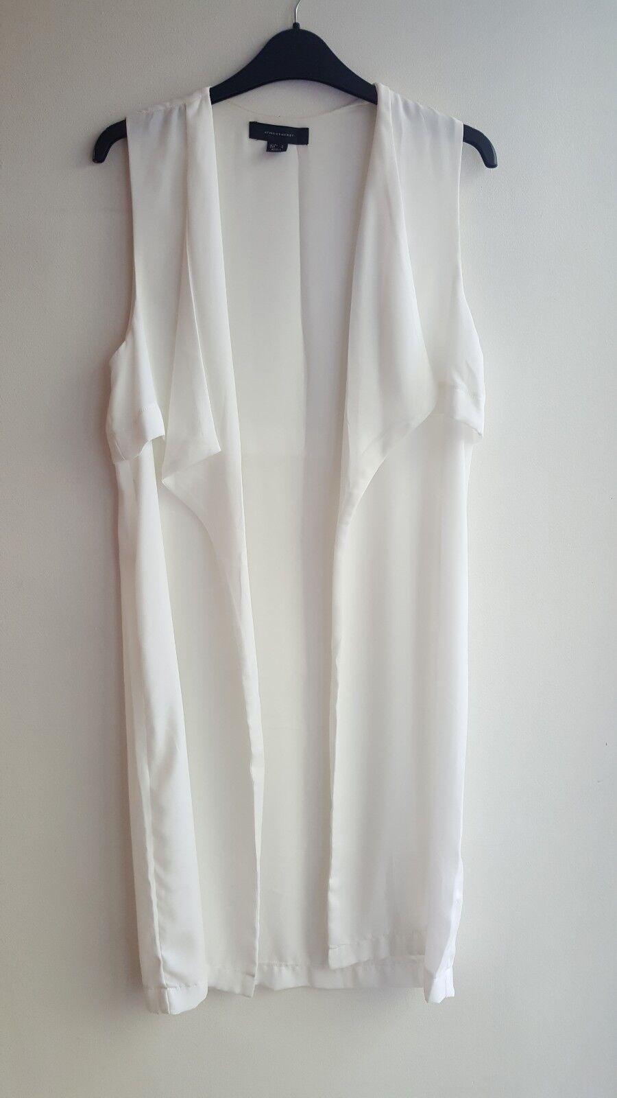 Primark Atmosphere Size 8 White/ Cream Waistcoat Jacket Longline