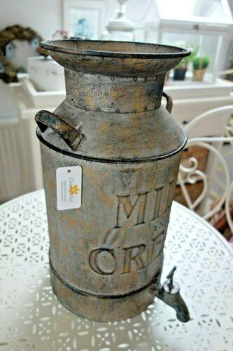 Shabby Milchkanne Blumen Vase Deko Kanne 38 x21cm Eisen Antikfarben gewischt NEU