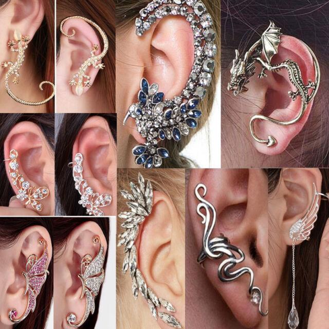 Fashion Women Crystal Clip-On Clip Ear Cuff Wrap Cartilage Earring Jewelry Gift