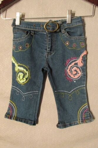 S6237 Kiddy Love Toddler Girls 24 Mth Embellished Jeans Elastic Waist Faux Belt