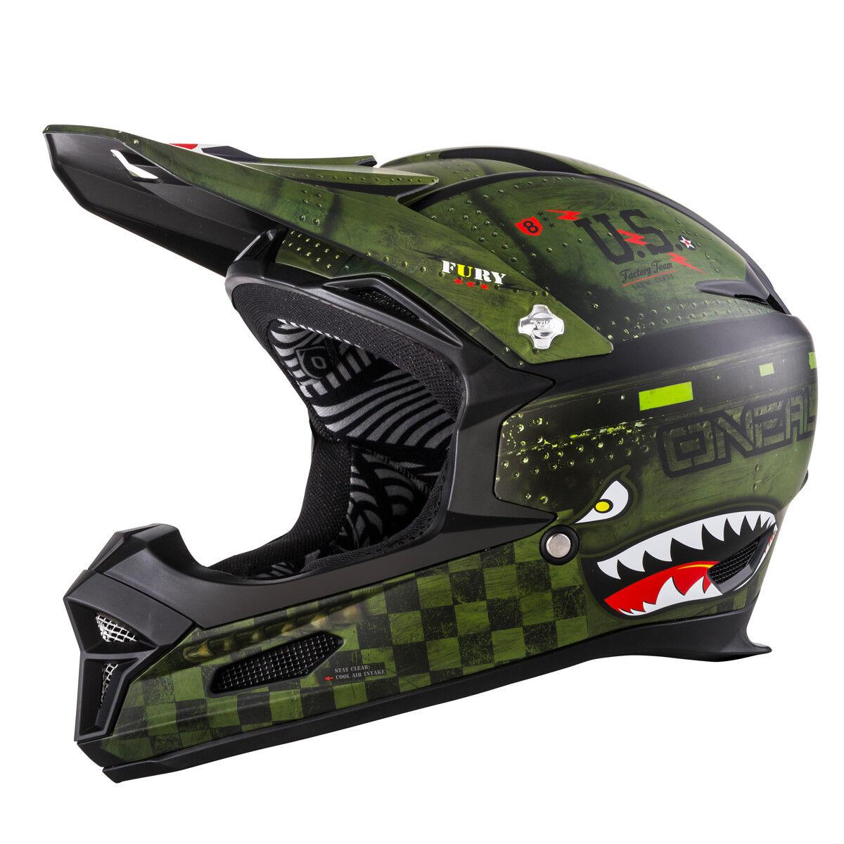 O 'Neal Fury Warhawk RL DH Vélo Casque vert noir 2019 ONEAL