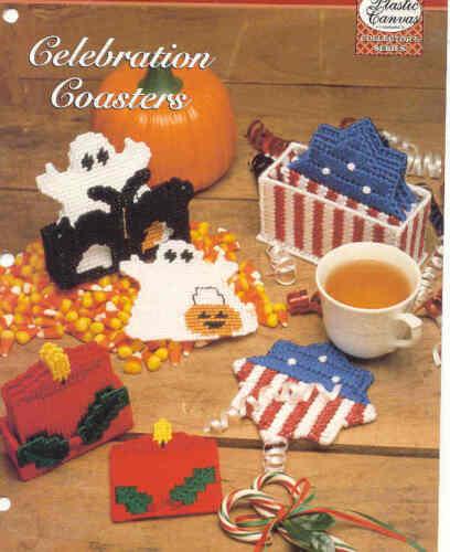 Celebration Coasters ~ 3 SETS ~   plastic canvas pattern  ~   HOLIDAYS