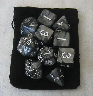 10x NEW Smoke Black RPG D&D Dice Set: 7 + 3d6 = 10 polyhedral die plus bag!