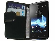 Black Wallet Leather Flip Case for Sony Xperia J (ST26i / ST26a) - Cover Holster