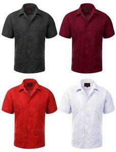 Guayabera-039-s-Men-039-s-Short-Sleeve-Cuban-Beach-Wedding-Bartender-Dress-Shirts