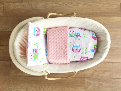 BABEES© 4 tlg KISSEN Kinderwagen Wiege Bettwäsche MINKY SET Baby DECKE 75x60