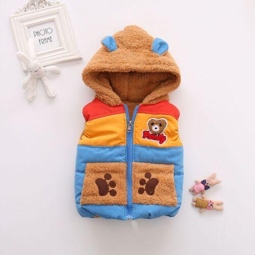 Automne hiver garçon Baby Kids Gilet Outerwear Bear Cartoon à Capuche Chaud Manteau Mignon