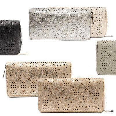 Portemonnaie Börse Geldbörse Lang Geldbeutel für Damen Brieftasche Sterne Stars
