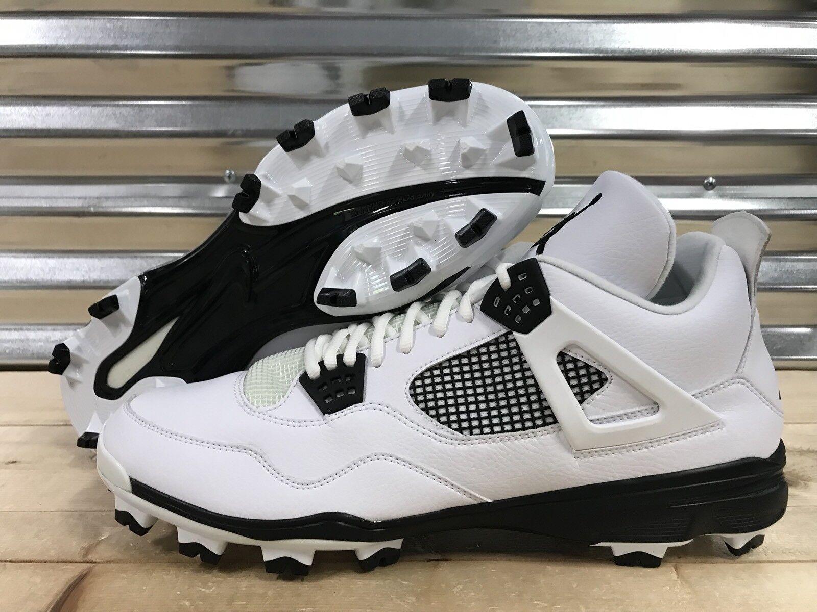 Air Jordan IV 4 MCS Baseball Cleats Blanc Noir Oreo SZ ( 807709-110 )