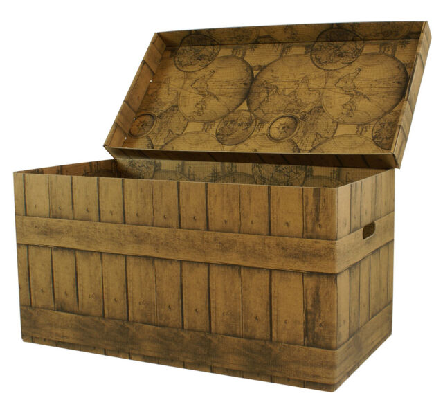 XXL STORAGE BOX CARDBOARD CHEST GIANT BOX Trunk Coffer boards ENG