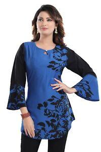 Women-Indian-Kurti-Tunic-Ethnic-Kurta-Dress-Floral-Blue-Printed-Short-SC2410S