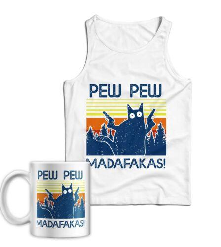 Funny Vintage Cat Pew Pew Madafakas Ladies Vest Tank Top /& Mug Combo Retro