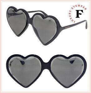 82f2ed409e GUCCI HOLLYWOOD FOREVER HEART 0360 Black Mirrored Fashion Sunglasses ...