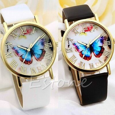 Vogue Women Geneva Butterfly Faux Leather Band Dress Quartz Analog Wrist Watch