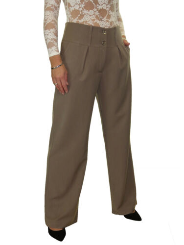 Ladies Wide Leg Smart Soft Office Trousers NEW 10-22