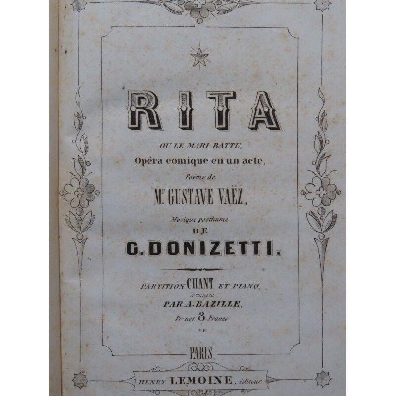 DONIZETTI g. Rita wobei Mari schlagen Opéra Chant Piano ca1860 Partitur -blatt