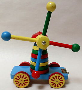 RARE-VINTAGE-WOODEN-BRIO-SWEDEN-STACKING-PULL-ALONG-TOY