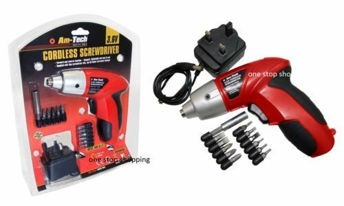 3.6V ELECTRIC RECHARGEABLE BATTERY CORDLESS SCREWDRIVER DRILL SET BITS V2565