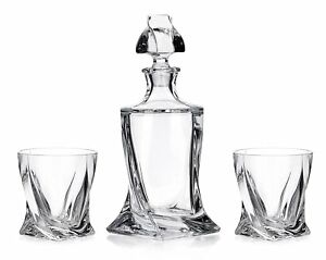 Crystal-Glass-Bar-Decanter-Spirits-Set-850ml-2-x-340ml-Tumbler-Quadro-Twist