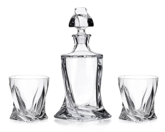 Crystal Glass Bar Decanter Spirits Set 850ml + 6 x 340ml Tumbler Quadro