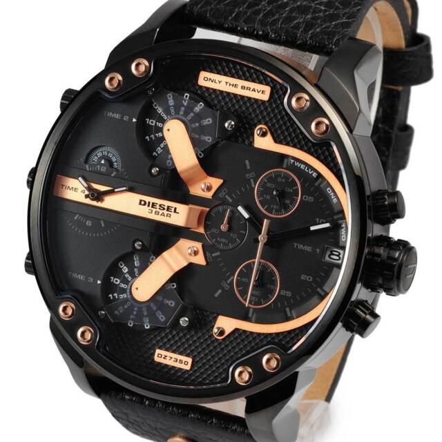 DIESEL DZ7350 Mr Daddy 2.0 Black Leather Rose Gold Chronograph Mens Watch