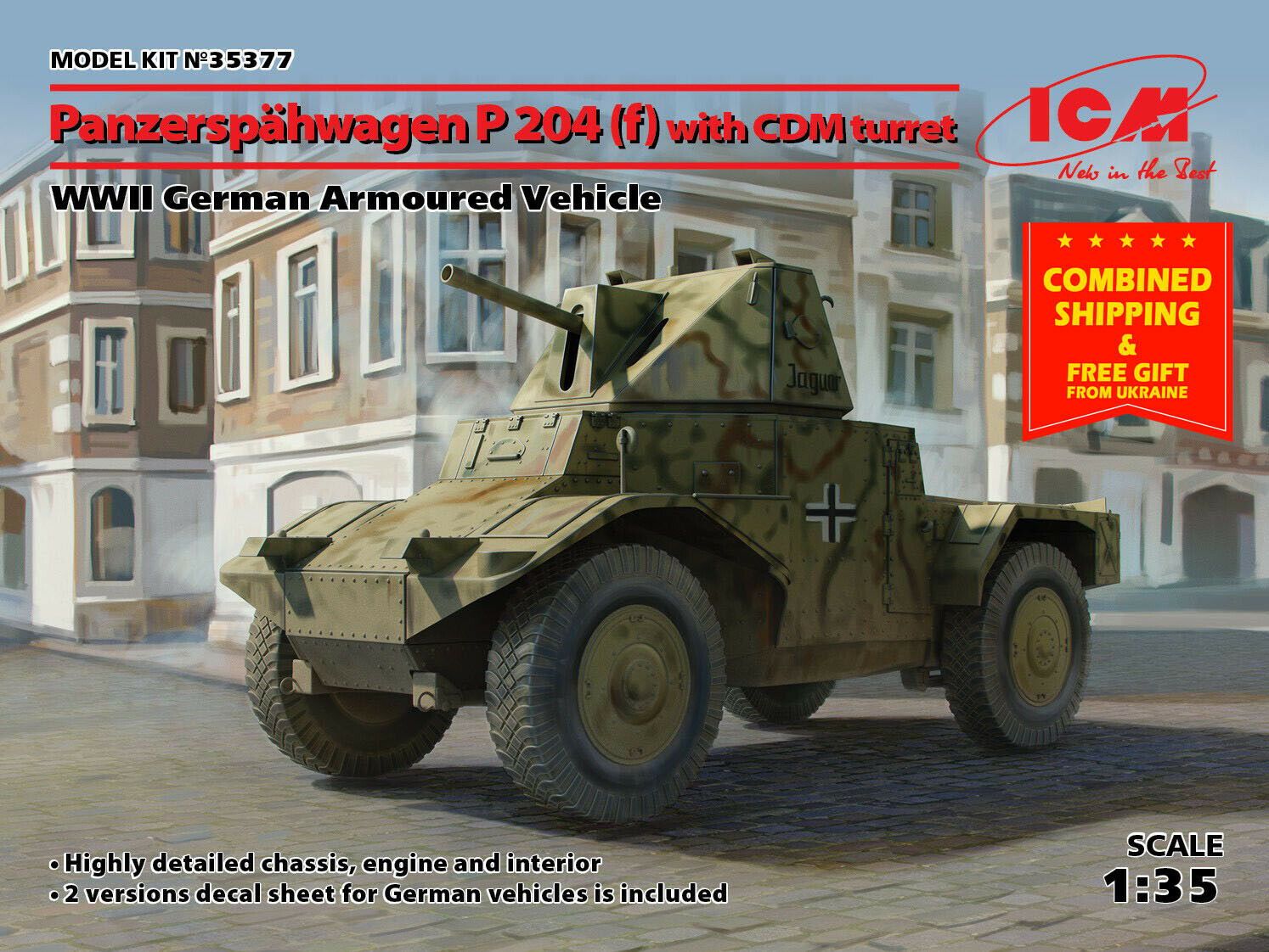 ICM 35377 - 1 35 - Panzerspähwagen P 204 (f) w  CDM turret WW II German vehicle
