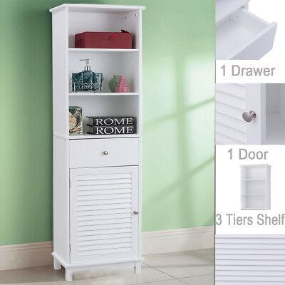 Tall Wooden Bathroom Cabinet Freestanding Storage Shelf Cupboard Unit White